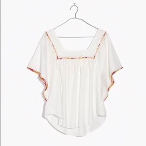 Madewell Pompom Butterfly Top- White